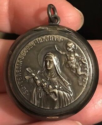 Vintage Sterling ST. TERESA Of The INFANT JESUS Pill Box Reliquary Pendant Charm