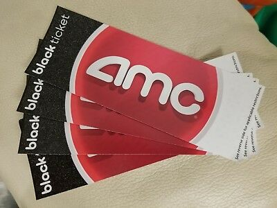 (4) Four AMC Black movie tickets. No expiration! Ships as soon as you pay.