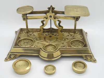 Antique English Brass Ornate Post Office Letter Scale