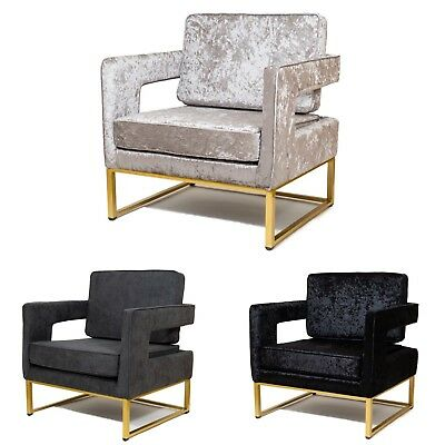 Crushed Velvet Armchair Accent Tub Seat Luxury Sofa Chair Occasional Lounge Room