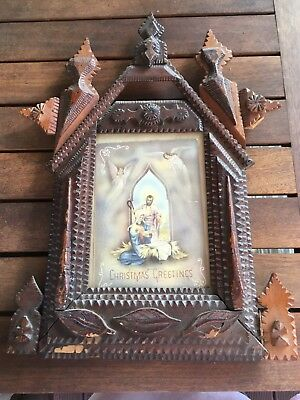 Antique carved Religious wooden picture frame.Tramp art ? Christmas Greetings