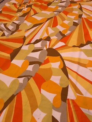 Vtg Mid Century Cotton Fabric Large Pieces 3 Psychedelic 1960-70s