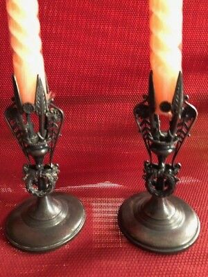 Vintage Set of Candle Stick Holders Plated by Reed and Barton with Wreath Design