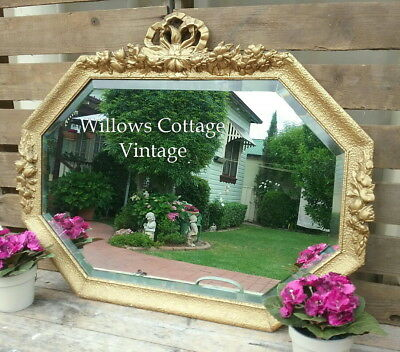 Large~Genuine~Antique~Vintage~French~Chic~Wood~&~Plaster~Beveled~Wall~Mirror