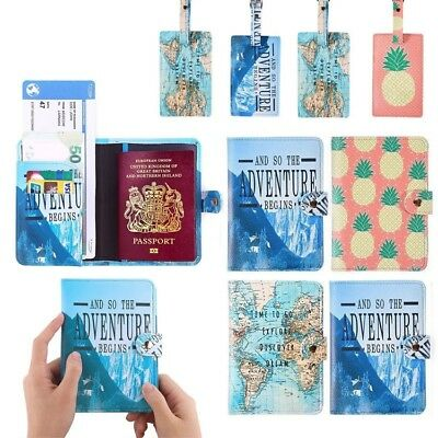 Vintage Travel Passport Holder RFID Blocking Wallet Card Case Cover Luggage Tags