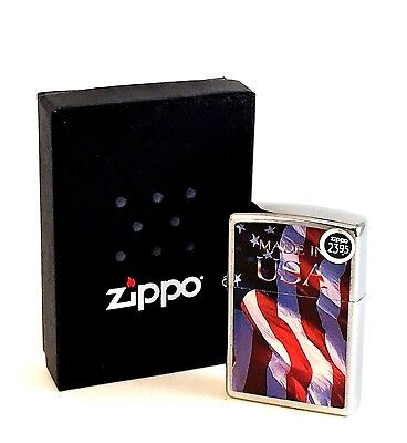 BRAND-NEW Zippo Brushed Chrome Made in USA American Flag Lighter In Box, # 24797