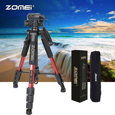 ZOMEI Q111 Professional Portable Aluminum Tripod 3-Way-Pan Stand For DSLR red
