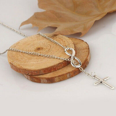 Stainless Steel Infinity Charm Cross Pendant Womens Silver Jewelry Necklace Gift