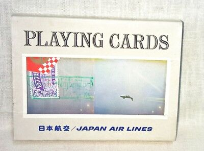 Vintage Japan Airlines Double Deck Playing Cards Set Gold Edges