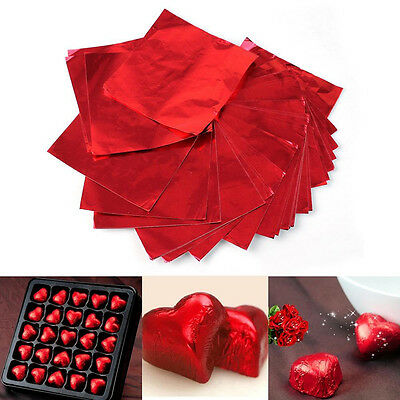100Pcs Sweets Candy Package Foil Paper Chocolate Lolly Foil Wrappers Square CN