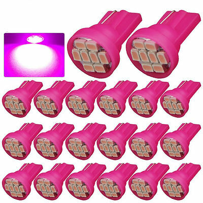 50x DC 24V Pink T10 8SMD LED License Plate Dashboard Light Bulbs 194 168 w5w 192