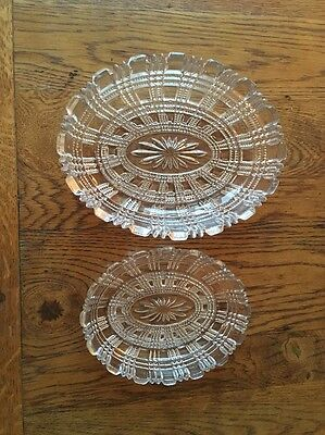 Antique Davidson Glassware - Matching Pair Of Oval Dishes Sweet Or Trinket Bowls