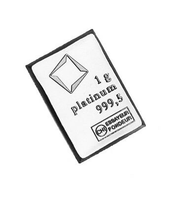 Platinum 1 Gram Valcambi Bar CombiBar 99.99% Pure Bullion