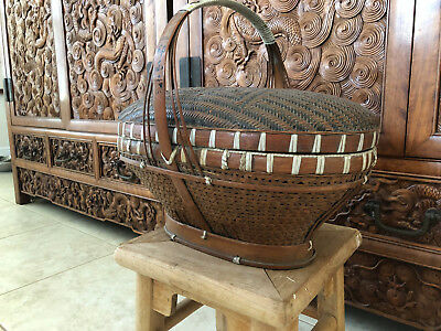 Antique Chinese Basket Double Happiness Wedding Very Good Construction