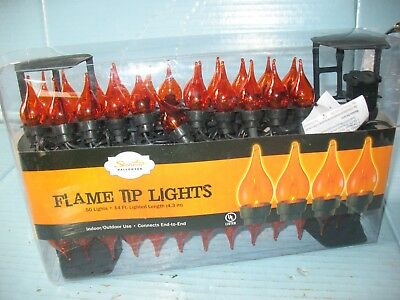 Halloween Flame Tipped Lights 14' Strand Of 50 Lights