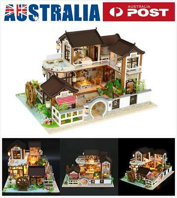 DIY LED Ancient Architecture Dollhouse Miniature Wooden Furniture Kit Doll House