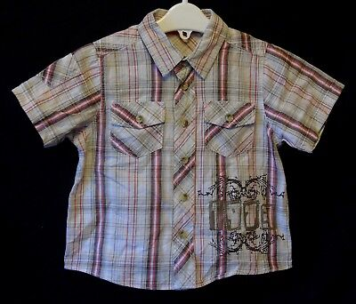 Baby Boys Matalan Brown Red Check Casual Short Sleeve Shirt Age 12-18 Months