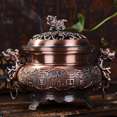 Chinese Incense Burner Double Dragon Hollow Cover Censer w/ Lid Cone Holder Gift