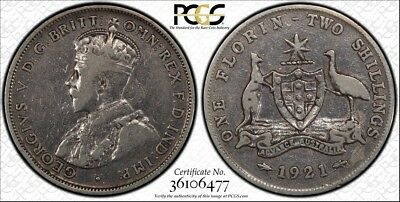 Australia 1921 Florin PCGS Genuine VF Cleaned