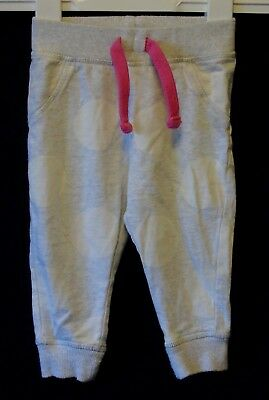 Baby Girls Mothercare Grey Marl Spotted Cuffed Trousers Joggers Age 9-12 Months