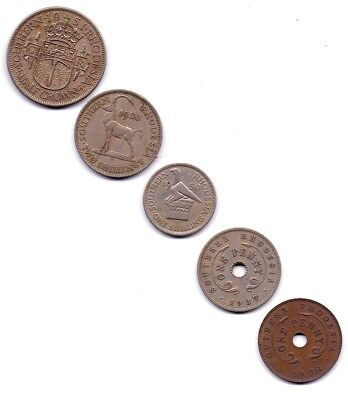 1937 TO 1951 Southern Rhodesia Half Crown, Shilling & Penny Lot of 5 coins