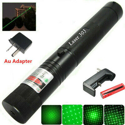 Military High Power Green Laser Pointer Pen - 18650 Battery & AU