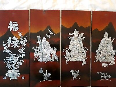 Antique 4 wall hangings China 3 deities Fu Lu Shou mother of pearl laquer panel