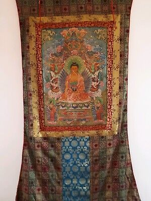 Antique Tibetan Thangka Buddist Painting blessed huge rare Buddha