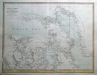 ARCTIC DISCOVERIES,Canada, Greenland, Gaultier antique map 1829