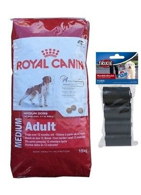 15kg Royal Canin Medium Adult Hundefutter + 80 Stk. Kotbeutel