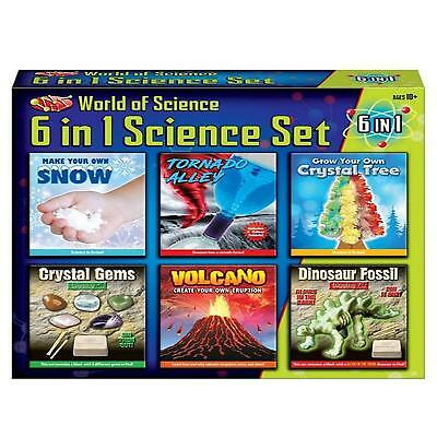 6 In 1 Science Set Create Volcano Tornado Crystal Gem Fossil Dig Kit Gift Set
