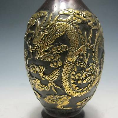 Chinese  Bronze Gilt Hand-carved Dragon & Phoenix  Vase W Oianlong Mark