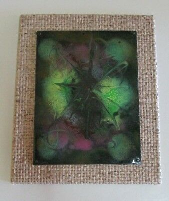 Original Vintage Abstract Enamel on Copper Art Work - Green and Purple Design