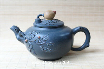 Delicate Chinese Yixing Zisha Teapot Handmade Carving Peach lid Leaf