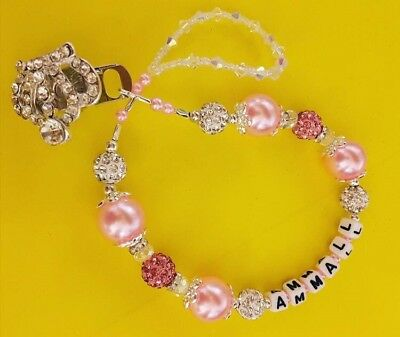 Bling pink crown  Crystal Romany Dummy clip custom name