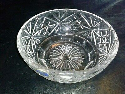 Bohemian Czech Finger Bowl Glass Lead (24%)Crystal Clear Vintage Mint/Candy Dish