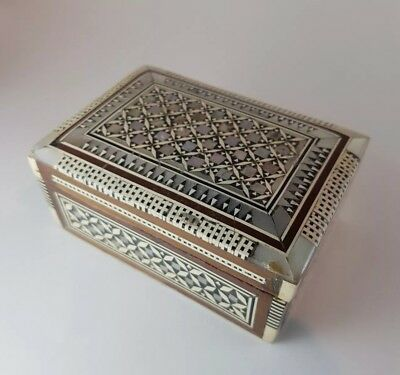 Vintage/antique mosaic marquetry inlaid trinket jewellery box, unusual gift.