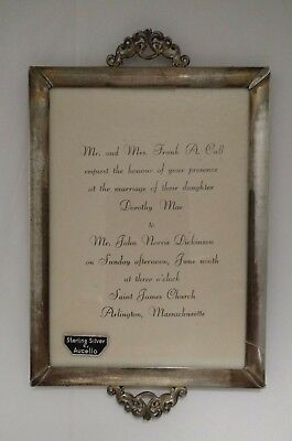 Scarce Victorian Antique Sterling Silver Wedding Invitation Frame by Aucello