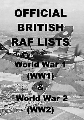 British Military Lists & Books On Dvd - Raf World War 1 2 History Medal Research