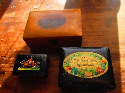 3 victorian small wood and papier mache boxes 1 snuff 2 mauchline
