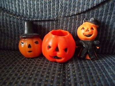 Three Gurley Halloween Candles Pumpkin With Hat Pumpkin With Candle Scarecrow