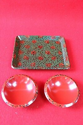 Antique Japanese Tsugaru-nuri Mini Serving Tray and mini dish, Tea Ceremony