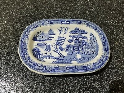 ANTIQUE BLUE & WHITE  WILLOW  SCENERY Small Mini Platter Plate 7'' by 5.25''