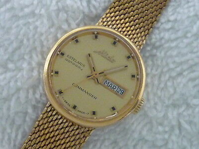MIDO ESTELARIS COMMANDER DATE DAY 14K Gold & Steel Ladies Swiss Watch