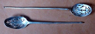 Two Antique Early 18th Century Silver Mote Spoons, Damage to Bowls - Thomas Mann