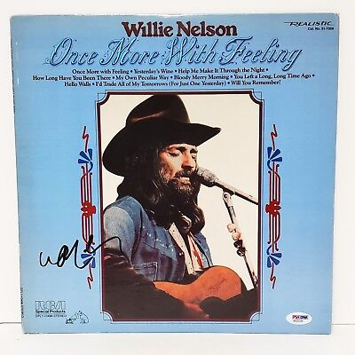 """WILLIE NELSON Signed Vinyl """"ONCE MORE WITH FEELING"""" Album LP PSA/DNA #AA25320"""