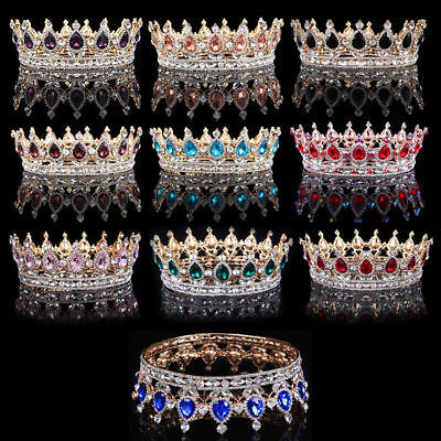 2'' High Gold King Queen Crystal Crown Wedding Party Rhinestone Royal Tiara