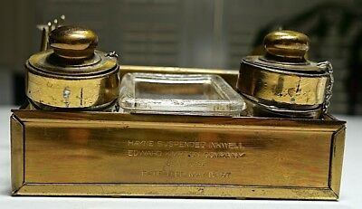 """Antique Brass """"Hayne's Suspended Inkwell"""" Patented 1897 - Double Inkwell"""