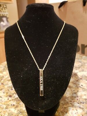 New Customized Alpha Kappa Alpha Sorority Gold bar 18 inch necklace
