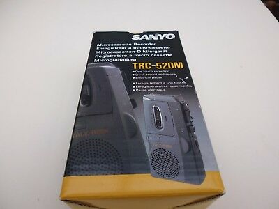 SANYO Microcassette Recorder TRC-520M Boxed Case New Cassette Instructions